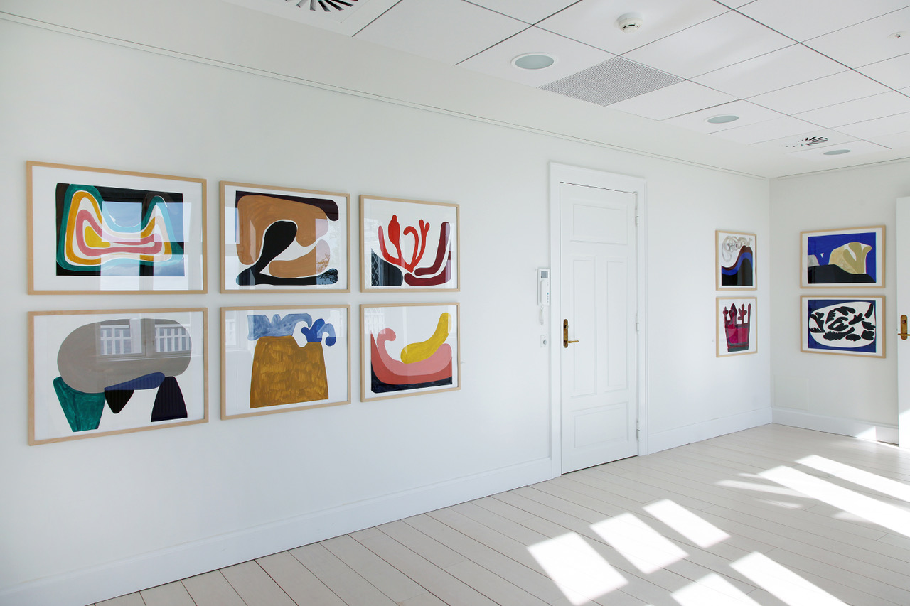 "Milena Bonifacini ""Uden titel,� 2017 (goauche på papir, 59 x 74,5 cm)."