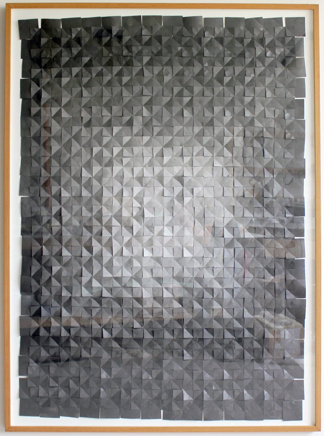 "Anna Bak ""Slowly Changing Dimensions,� 2016  (collage of graphite dusted paper, 140 x 100 cm)."
