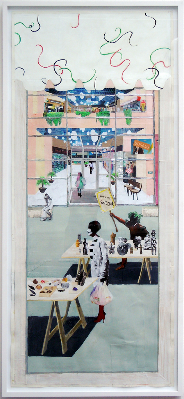 "Mette Vangsgaard ""Sell Out,� 2012 (mixed media collage, 200 x 92 cm)."