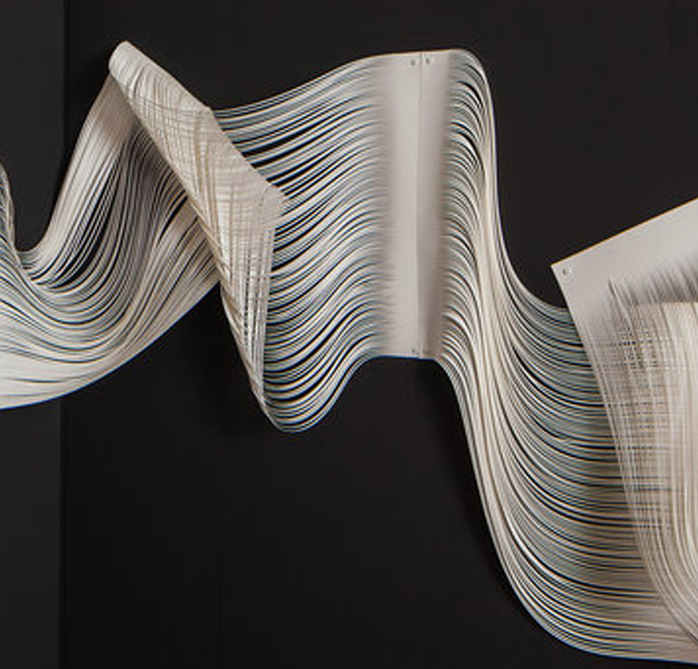 As light moves through the universe, its straight trajectory bends and warps when it interacts with the gravity of dark matter. Melissa Walter created this piece as an abstract view of this phenomenon.