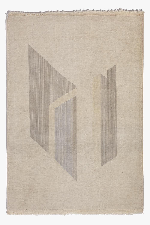 Haleh Redjaian, untitled (threads on hand woven carpet, 100 x 70 cm).