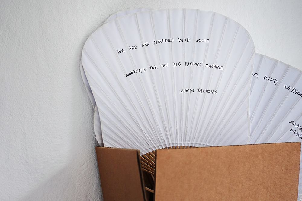 The Social Sensibility Research & Development Department, Quotes by the workers at Bernard Controls, 2019. Photo: Rikke Ehlers Nilsson.