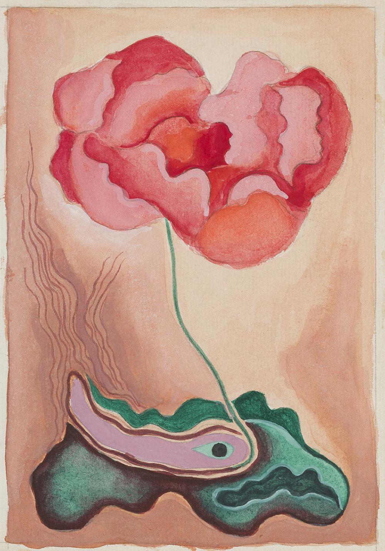 Rita Kernn-Larsen: Skitse til Valmuen, udateret. (Akvarel og blyant på papir, 19.7 x 13.7 cm). Foto: David Stjernholm.