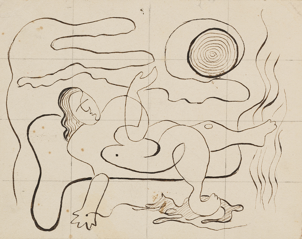 Rita Kernn-Larsen: Skitse til La rêve, 1932. (Blæk og blyant på papir, 10.9 x 13.9 cm). Foto: David Stjernholm.