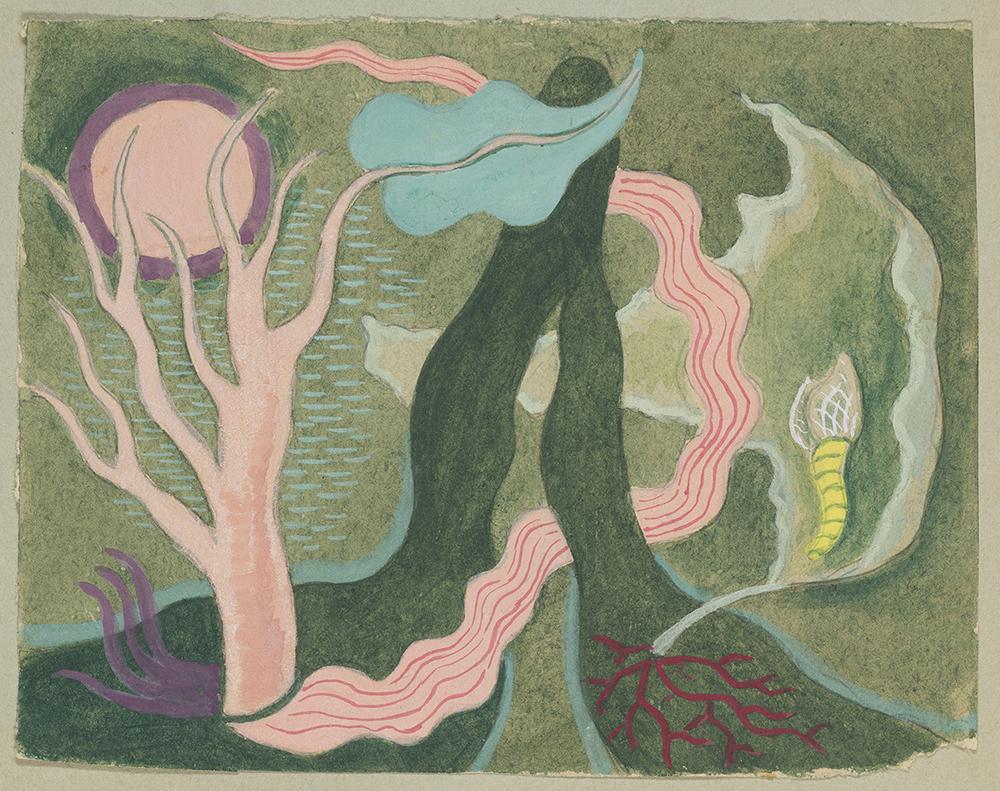 Rita Kernn-Larsen: Skitse til Det grønne Bjerg, udateret. (Akvarel og blyant på papir, 12.7 x 16.5 cm). Foto: David Stjernholm.