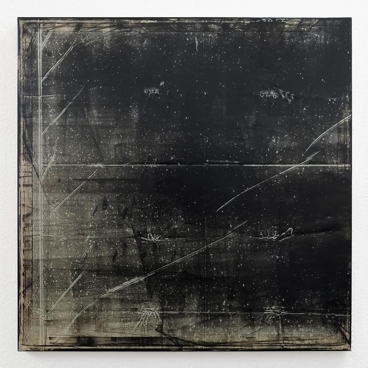 """Rieko Hotta """"Nowhere 03,� 2017 (Etching ink on PVC, 100 x 100 cm).  Photo: Marie Kirkegaard Gallery."""
