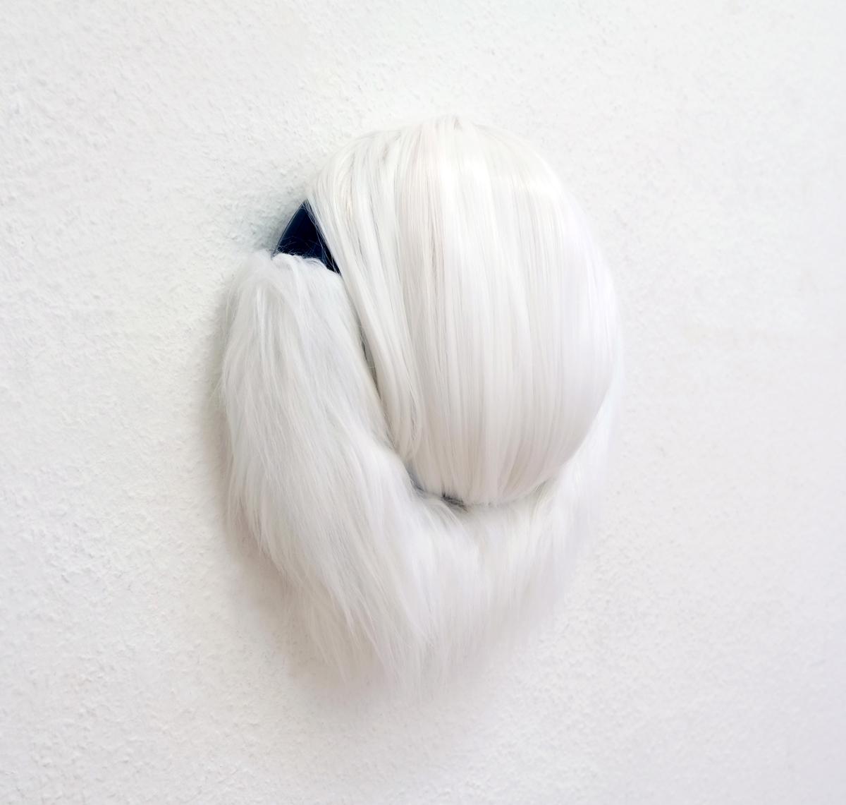 """Rieko Hotta """"Fox Mirror,� 2019 (Artificial hair, fake fur and rubber tire, 37x35x8 cm). Photo: Marie Kirkegaard Gallery."""