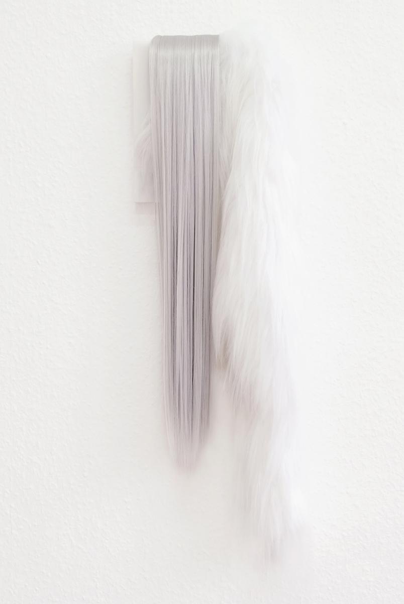 "Rieko Hotta ""Plastic Humanity 11,� 2019 (Artificial hair and fake fur on PVC, 65x18x6 cm). Photo: Marie Kirkegaard Gallery."