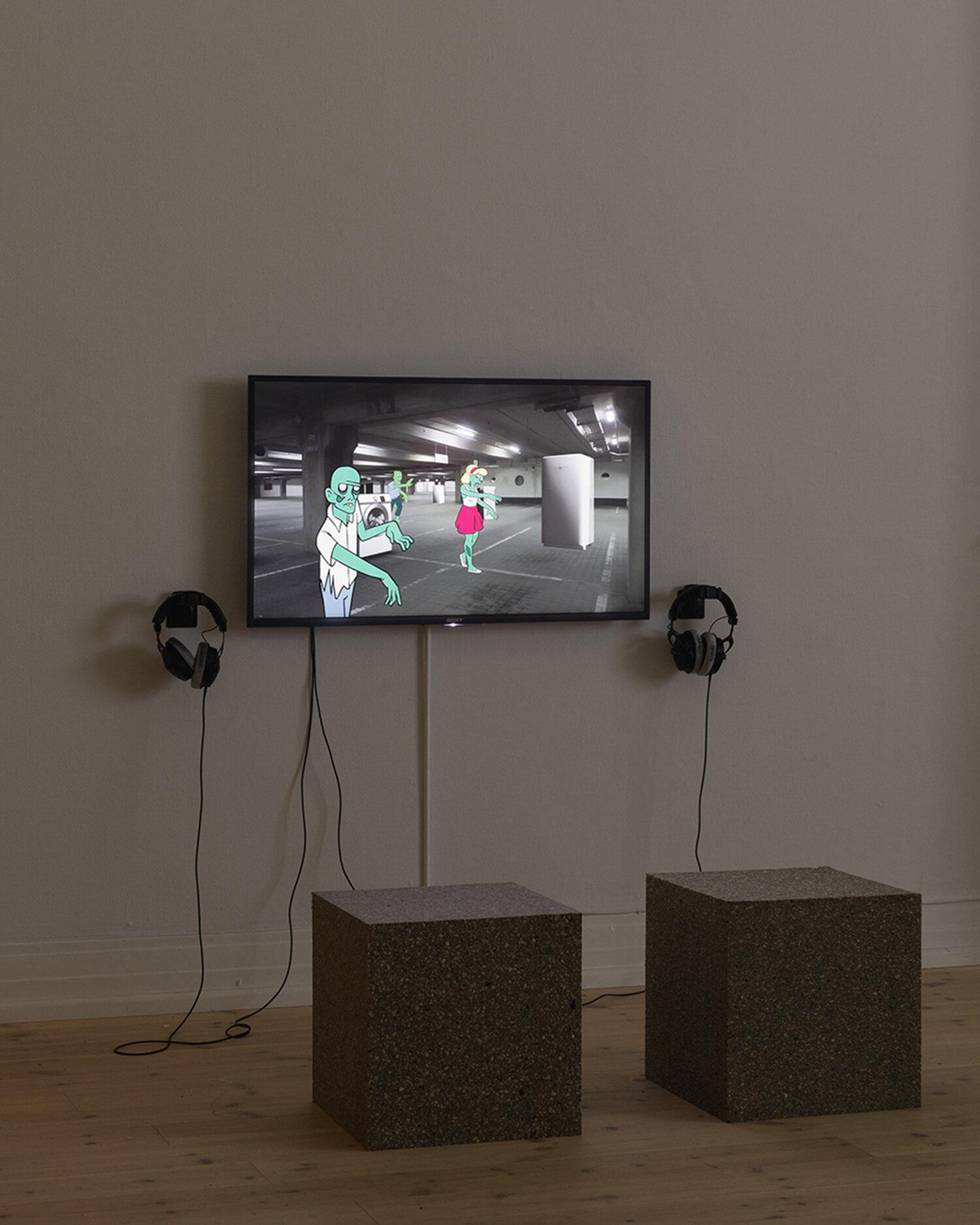 Piscine (Jens Settergren, Mark Tholander & Anna Ørberg), OS (2019). Installation view, Kunsthal Aarhus. Foto: Mikkel Kaldal.