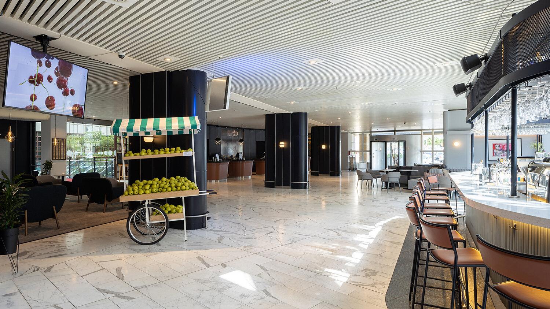 Peter Land, Falling Fruit (2018) og Ladies Night (2018). Installation view i Radisson Blu Hotel. Foto: Mikkel Kaldal.