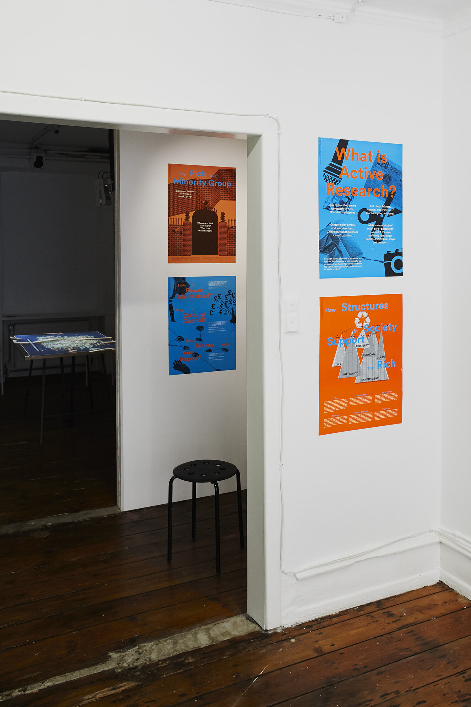 The Alternative School of Economics, Teaching Posters: The Rich as a Minority Group; Power, Capital and Happiness; Structures in Society; What is Active Research? (2016). Lithographic print on paper. Photo: SixtyEight Art Institute, 2019.