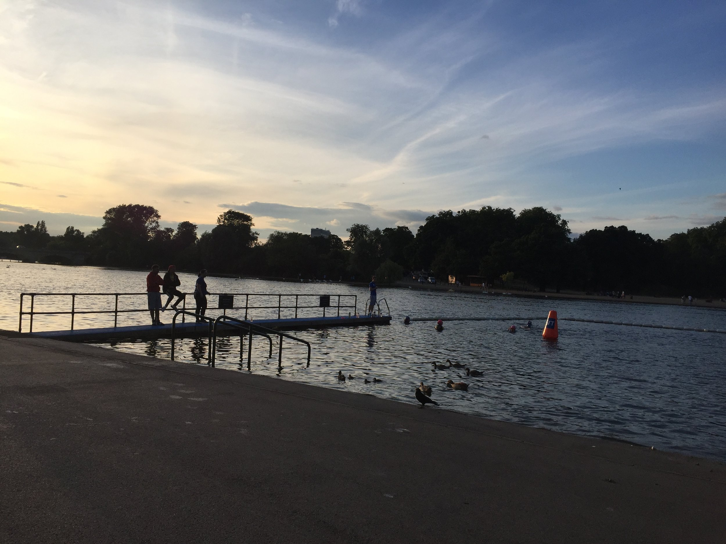 Summer evenings spent in Hyde Park swimming in the Serpentine, come rain or shine! For the most part it was a positive experience!