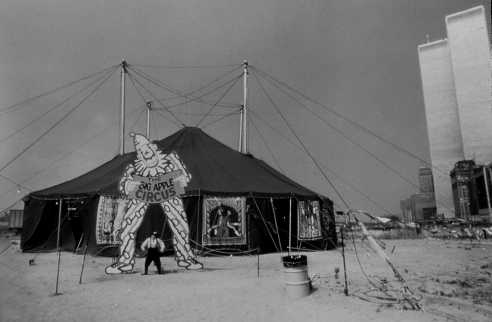 Circus clown  Nina Krasavina  at tent entrance