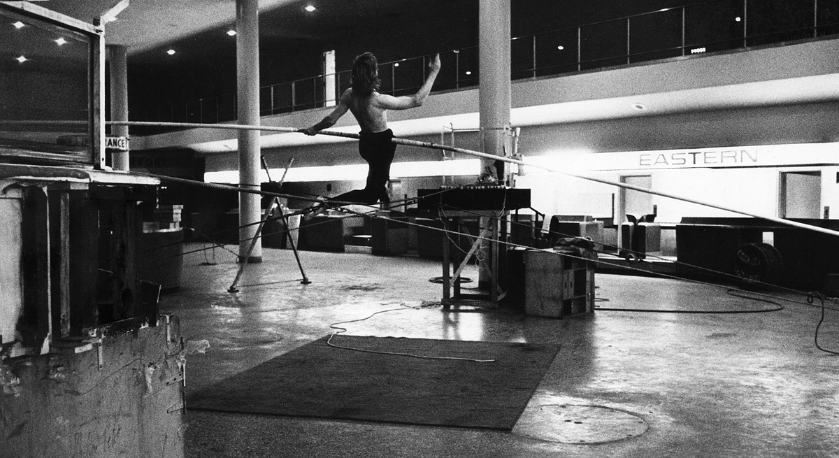 Rehearsing on wire at the former Eastern Air Lines office building on 104th St