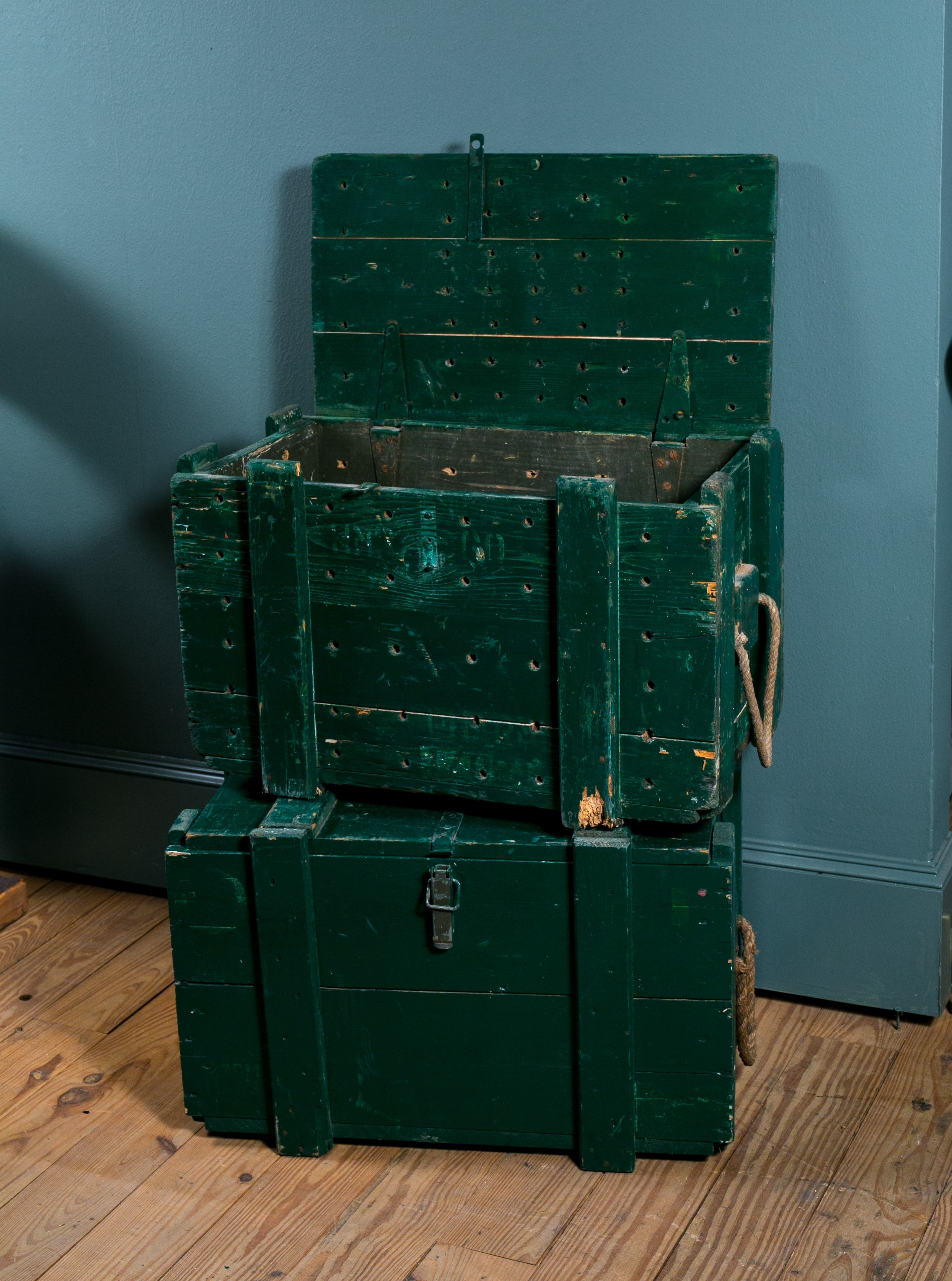 Vintage Painted Wooden Trunks, circa 1940