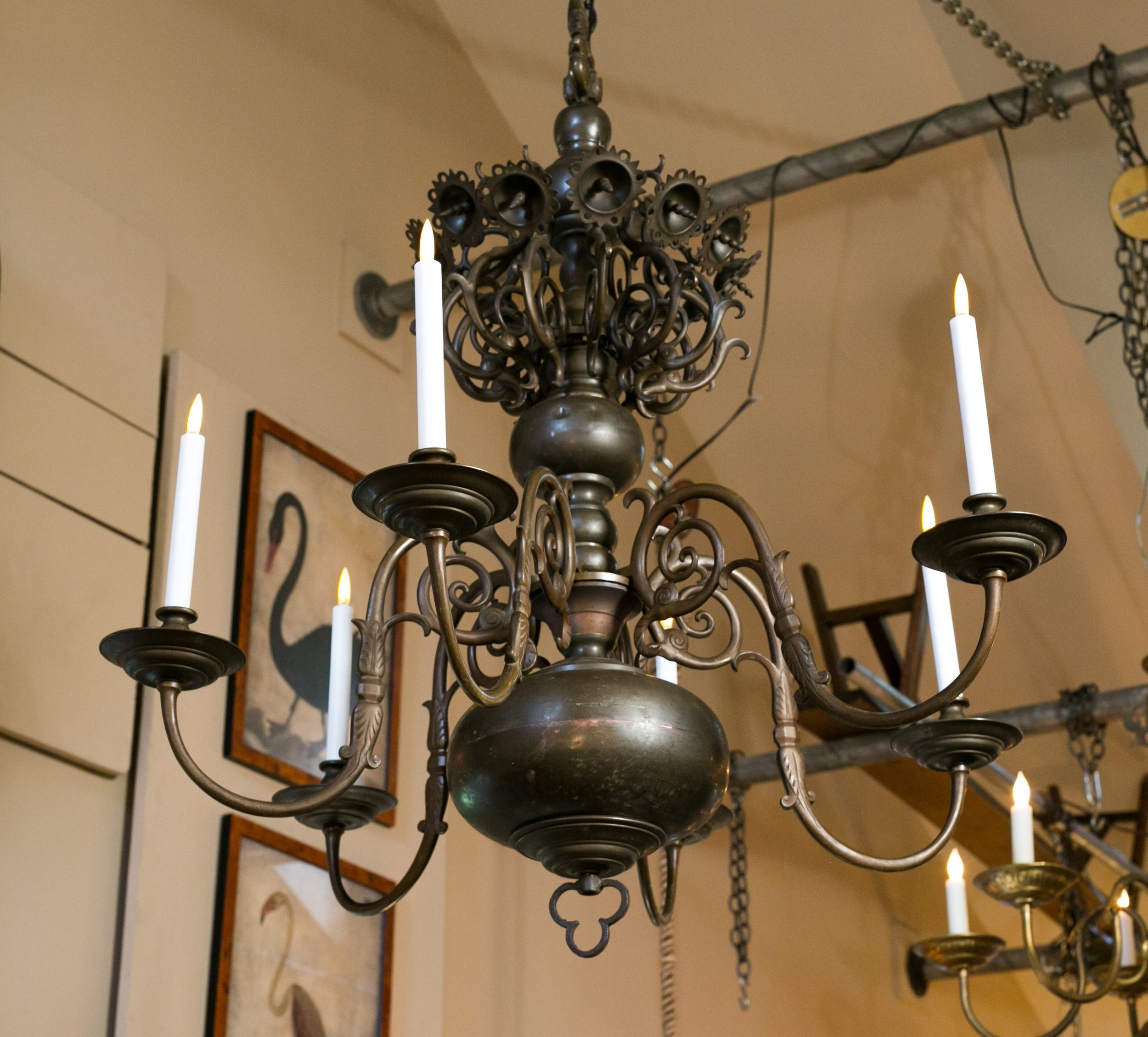 Monumental Antique Bronze Chandelier