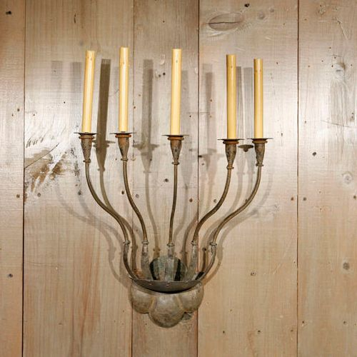 """Custom Hand-Forged Iron """"Fisher"""" Sconce with Five Lights"""