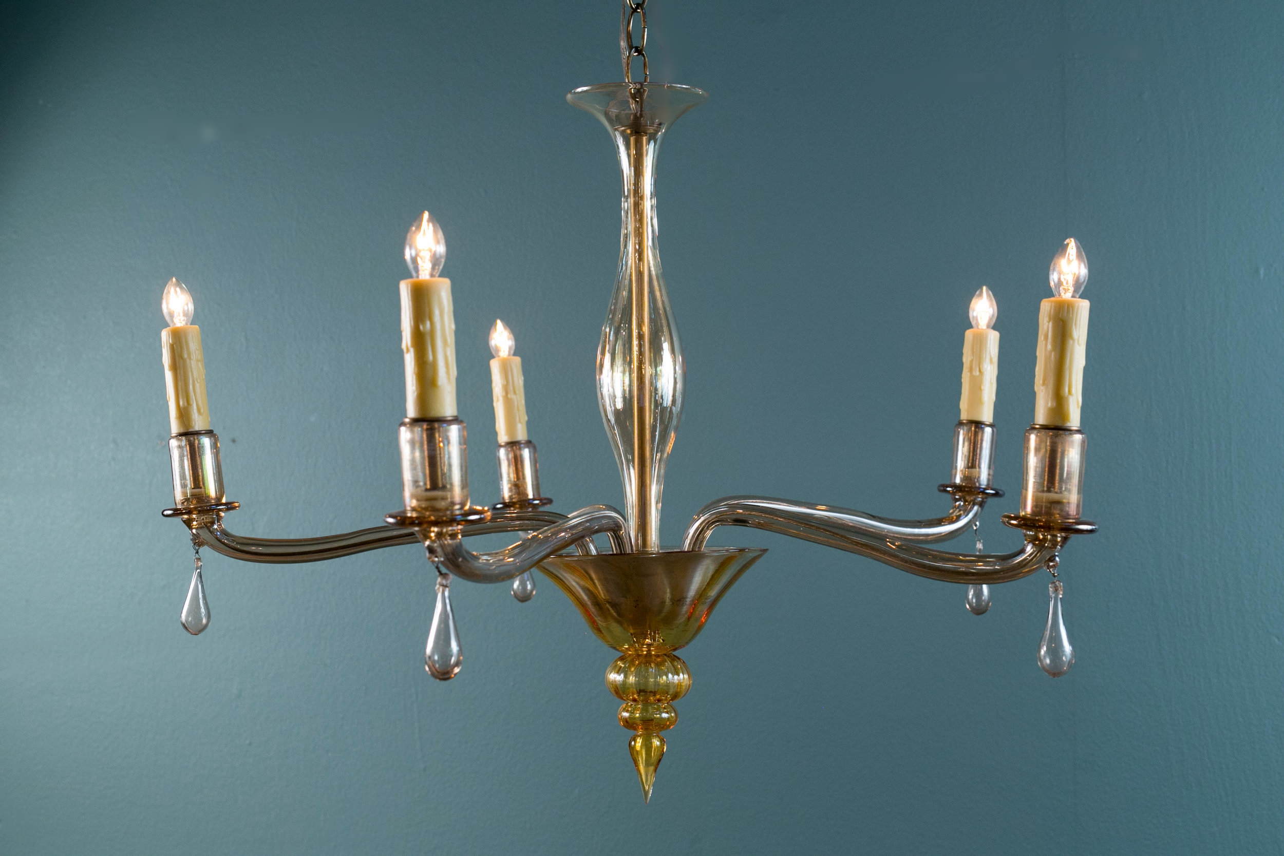 Five Arm Moderne Murano Chandelier with Drops