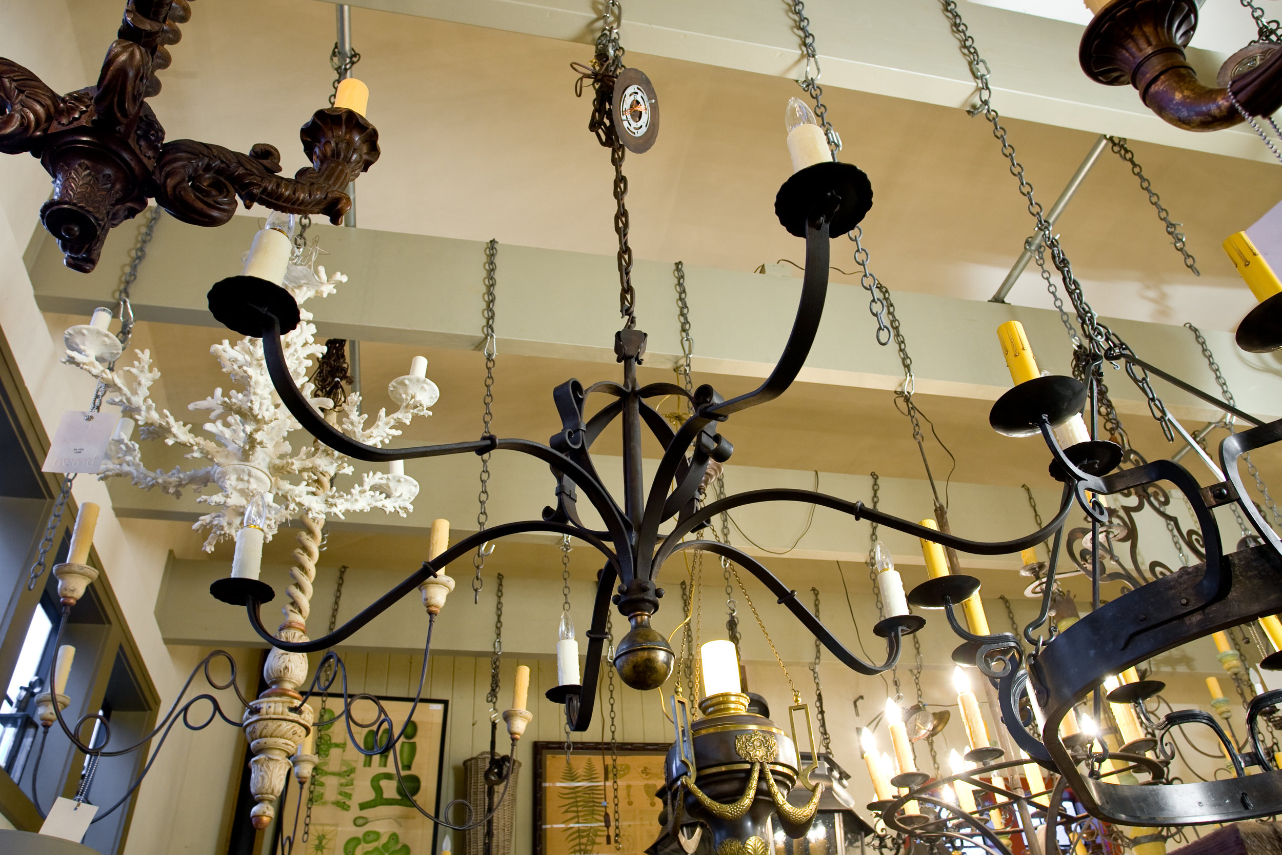 "Hand-Forged Iron and Brass ""Defiance"" Chandelier"
