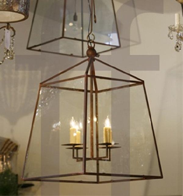 "Custom-Made, American Iron and Glass ""Seneca"" Lantern"