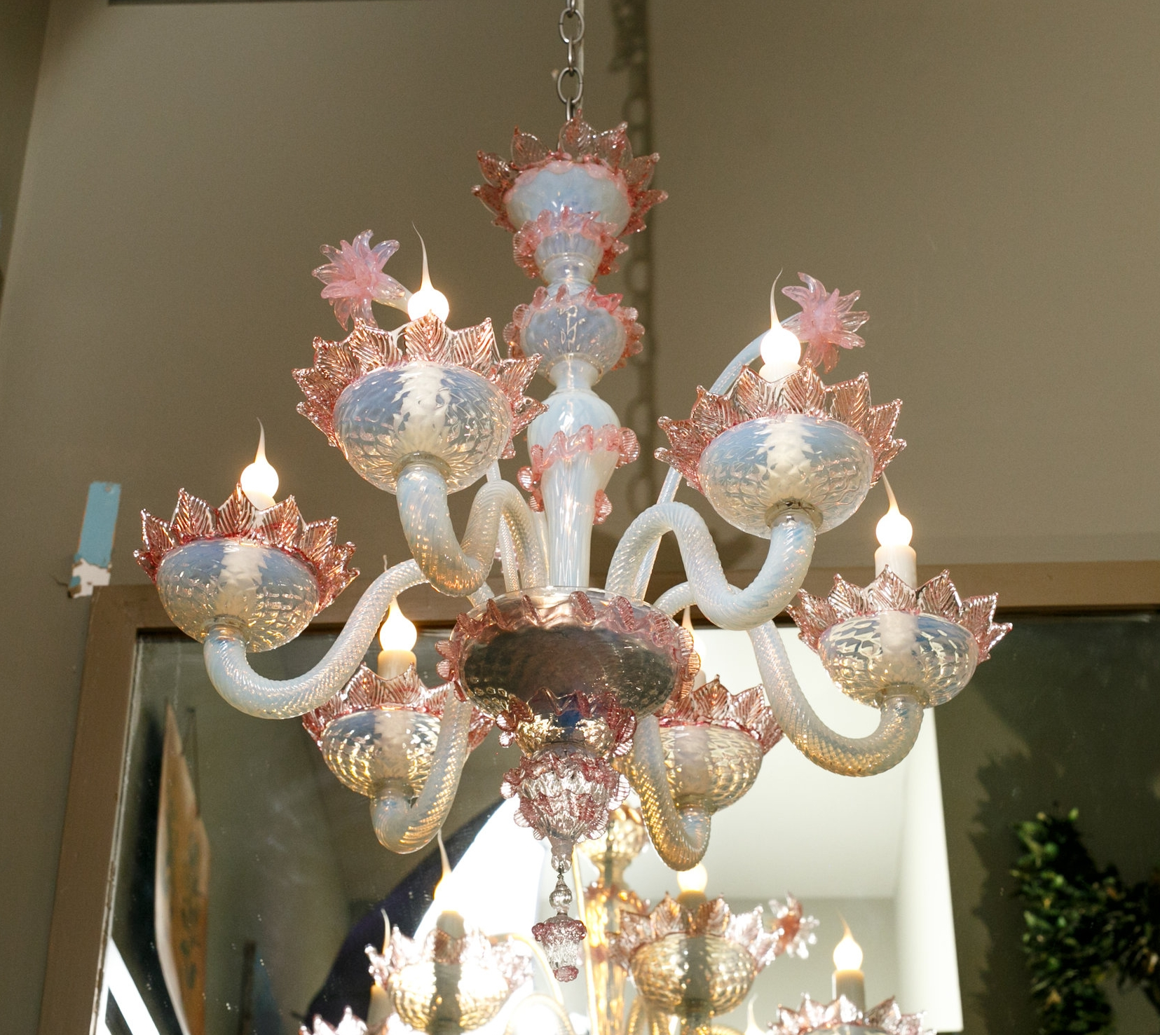 Vintage Pink and White Murano Glass Chandelier