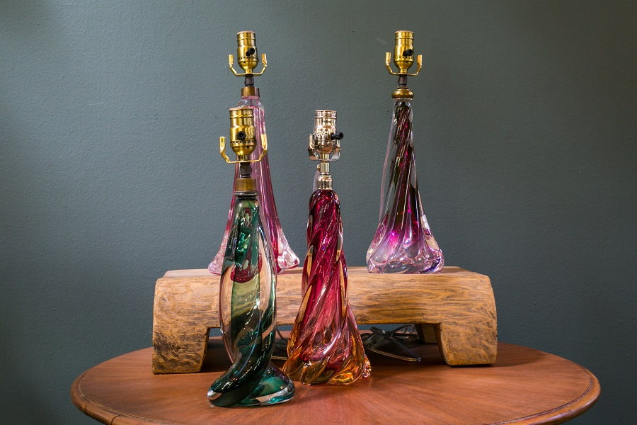 Assorted Vintage Val Saint Lambert Blown Glass Table Lamps