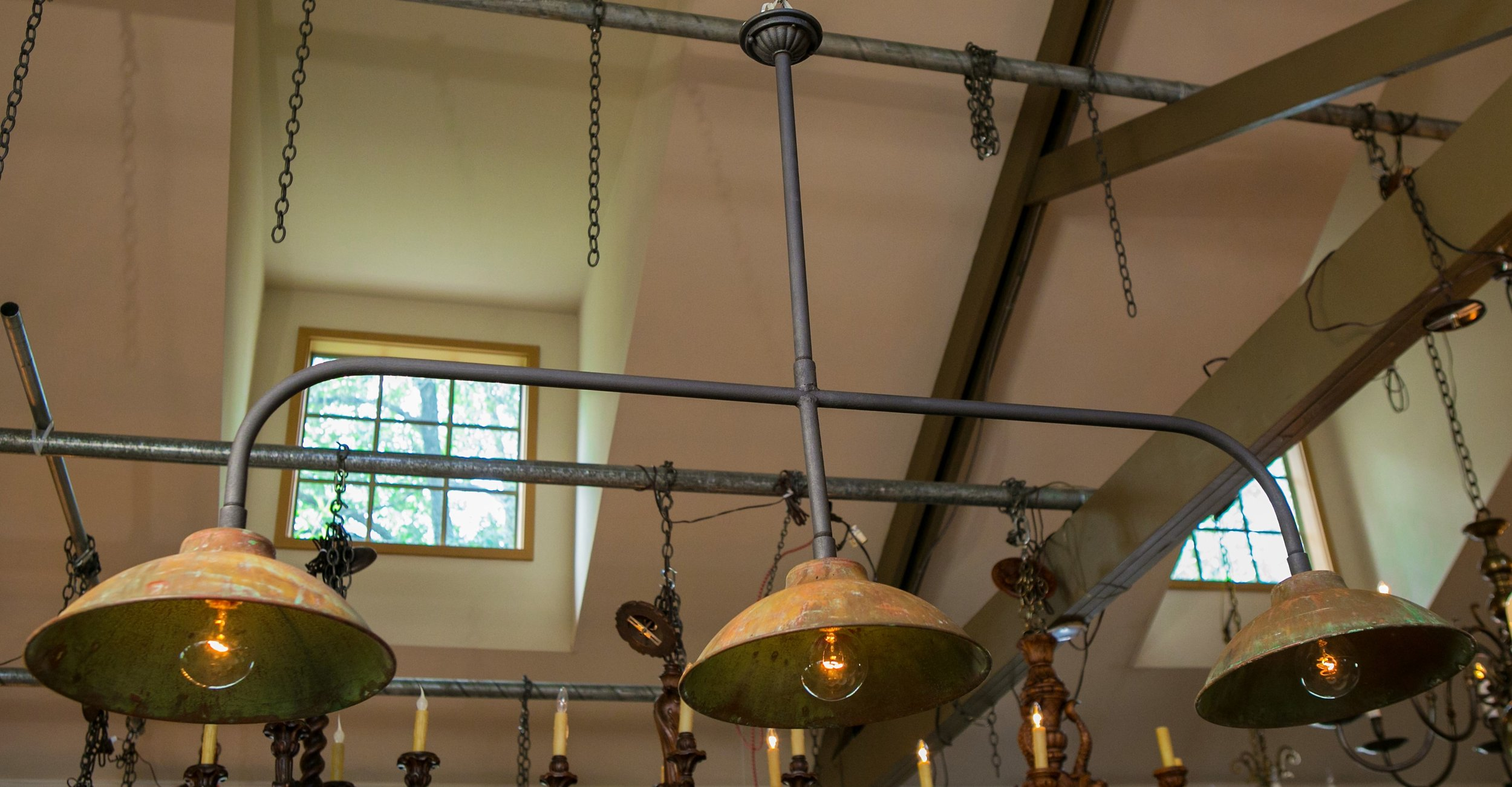 Iron and Vintage Belgian CopperShaded Light