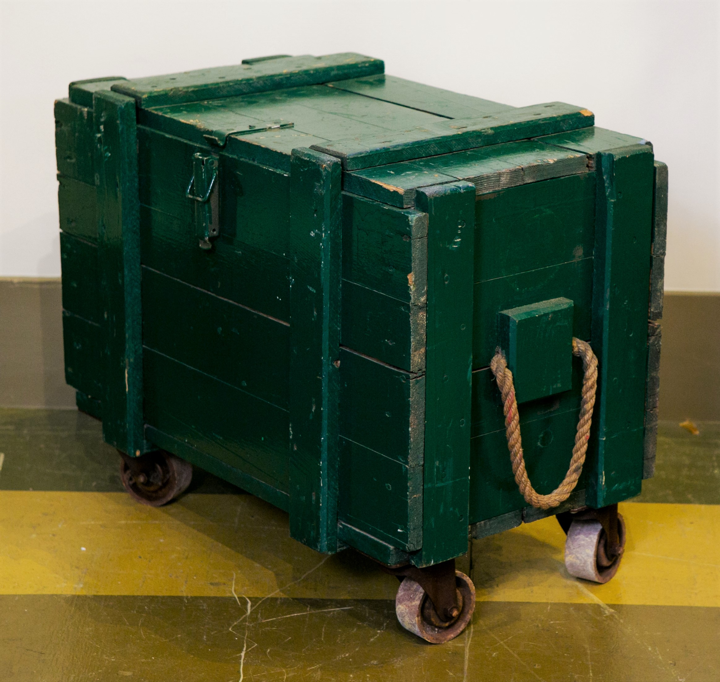 Vintage Green Wooden Trunks on Casters with Rope Handles and Hinged Lid