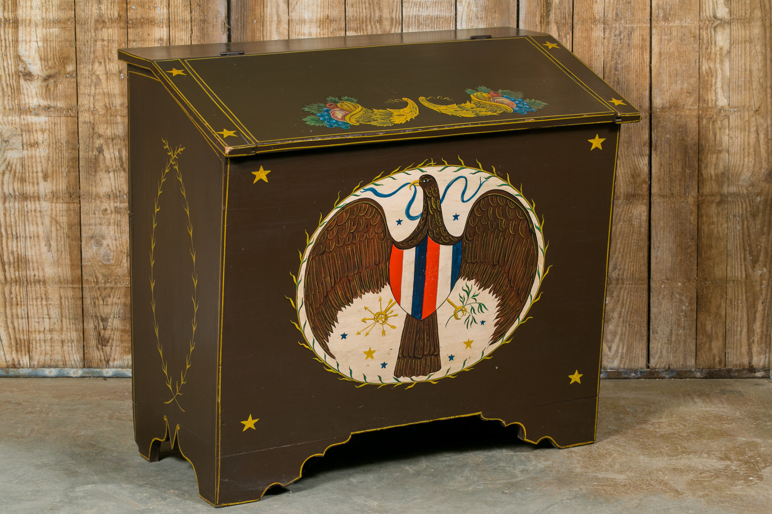 One of a Kind Antique American Blanket Chest Hand-Painted by Lew Hudnall