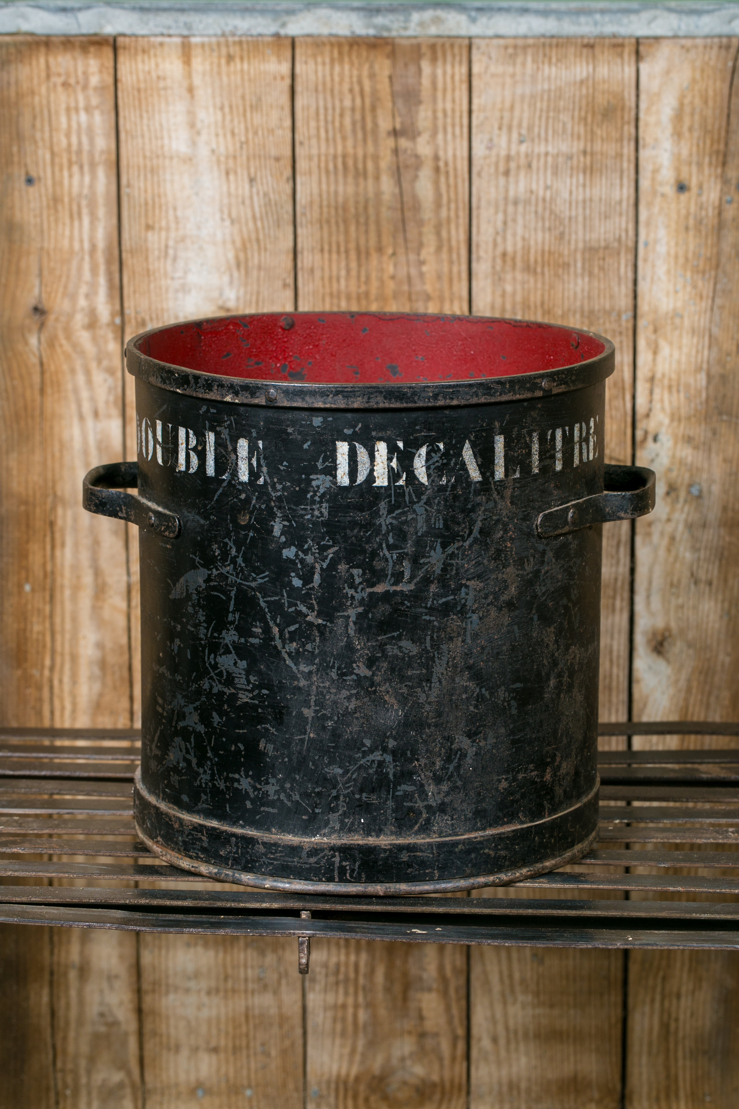 Vintage Large Red and Black Double Decalitre Measure from Belgium, circa 1940