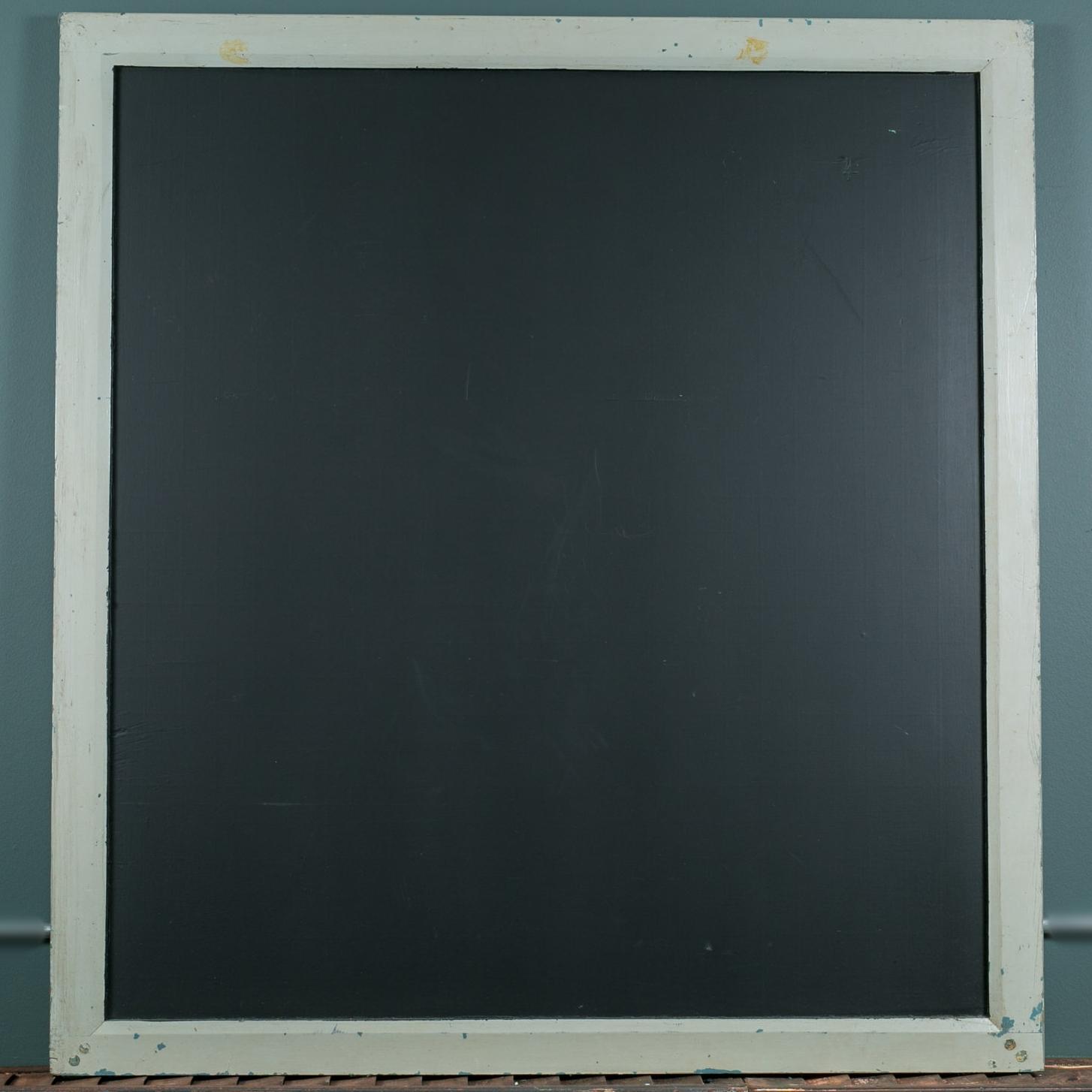 Large Vintage Slate Chalk Board with Grey Wood Frame