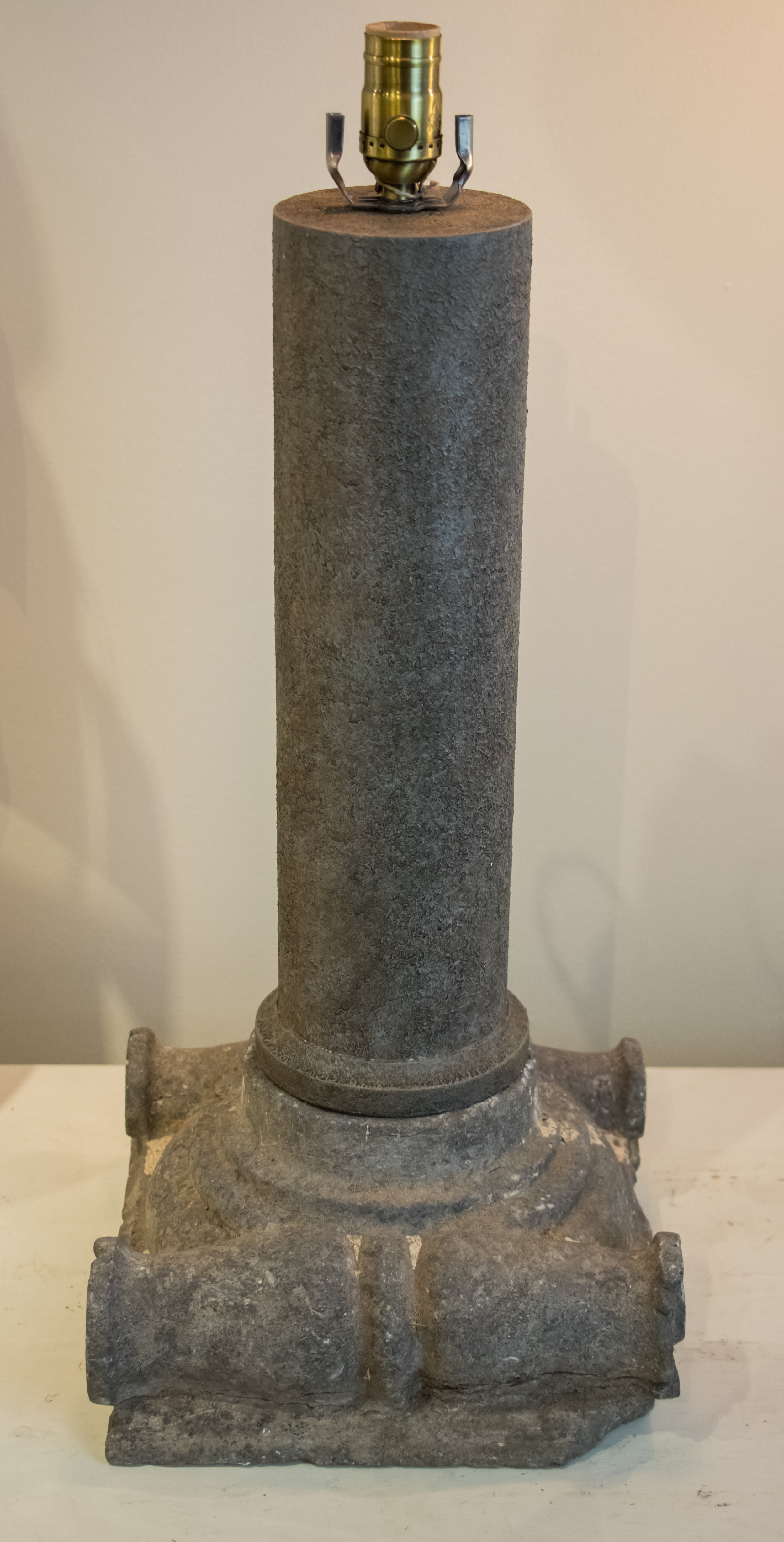 Belgian Hand-Carved Bluestone Table Lamp