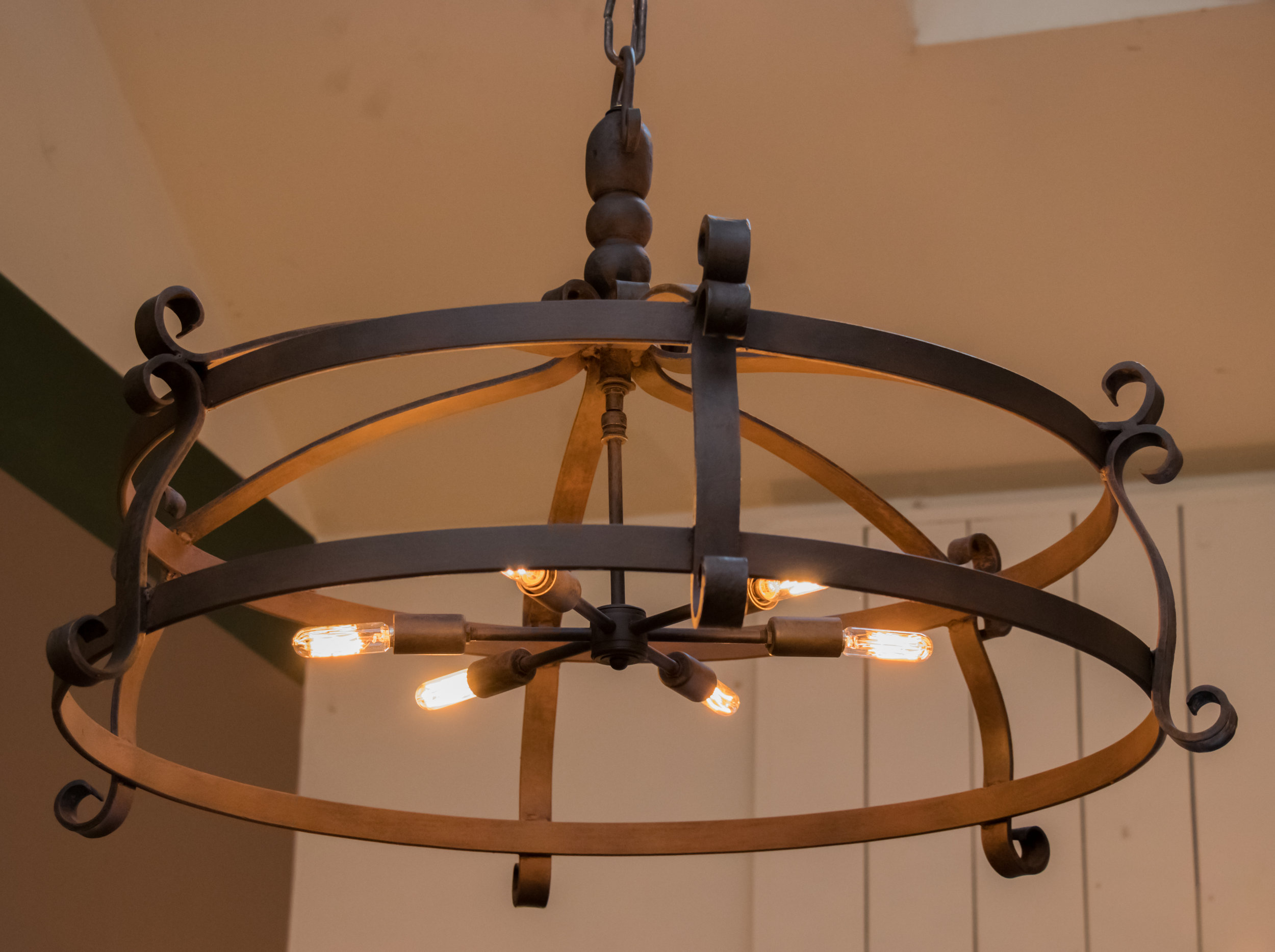 Over-Sized Hand-Forged Iron Round Chandelier with Six Lights