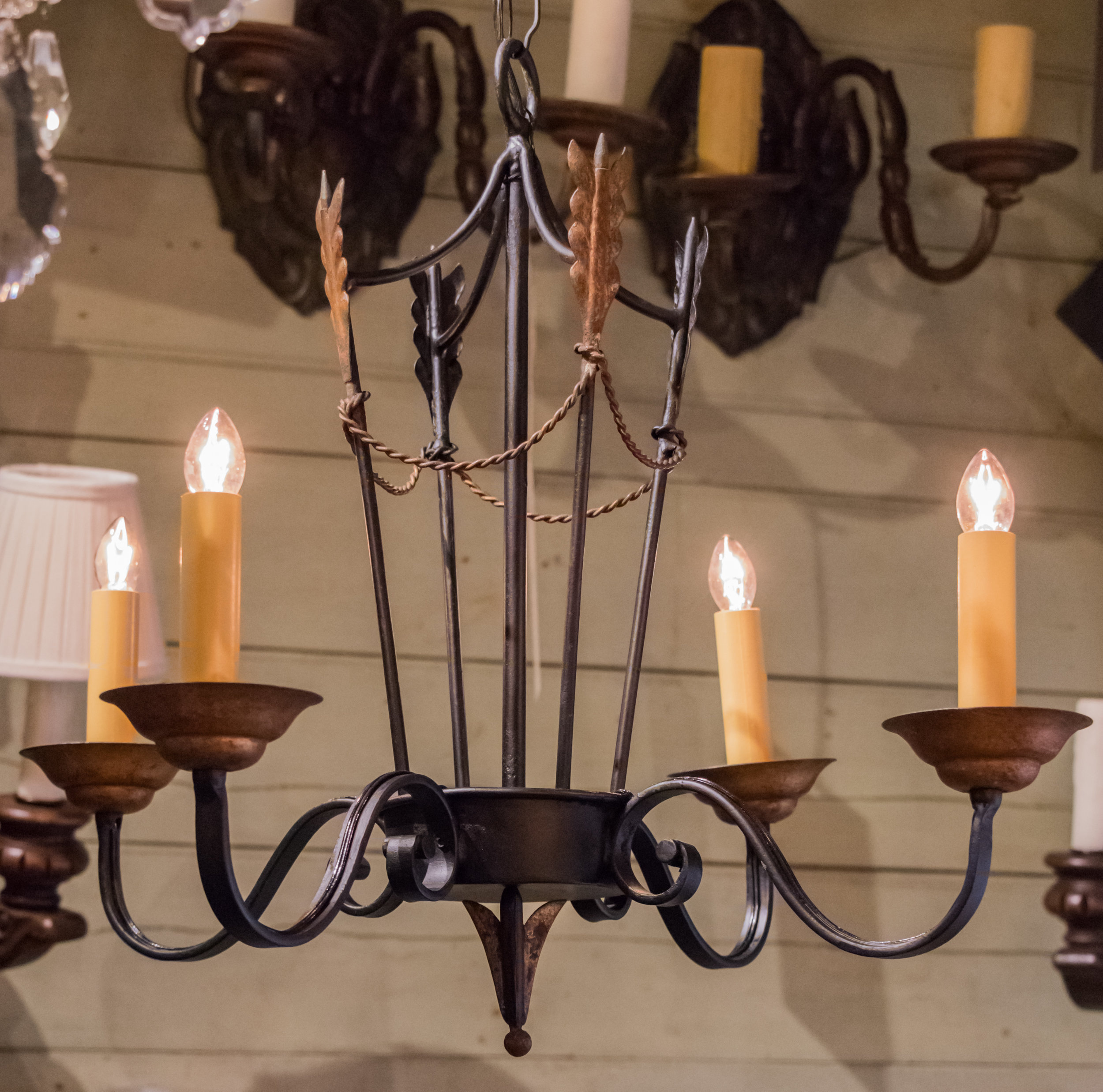 French Tole Arrow Chandelier, circa 1940
