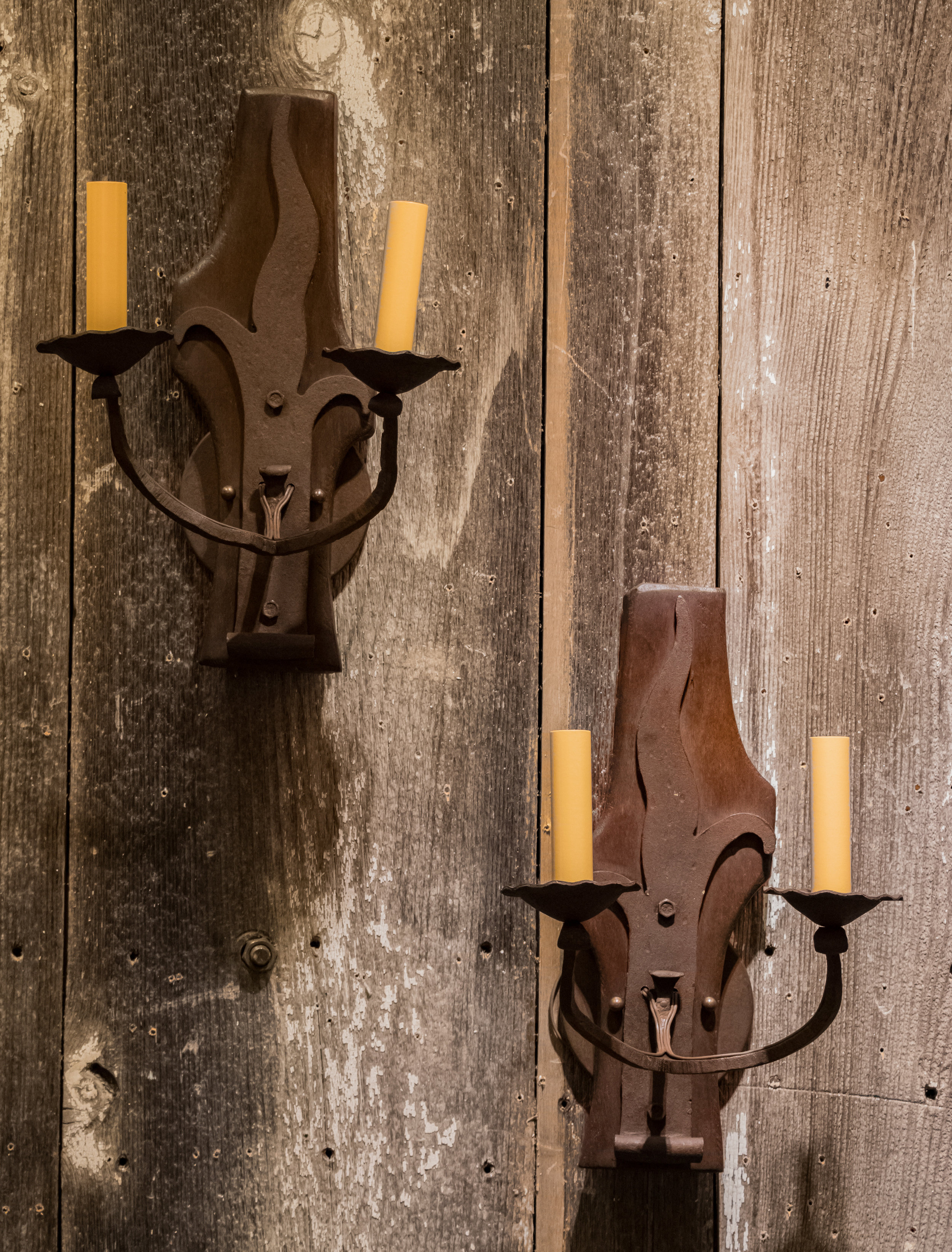 Pair, Antique Iron and Wood Belgian Sconces, circa 1900's