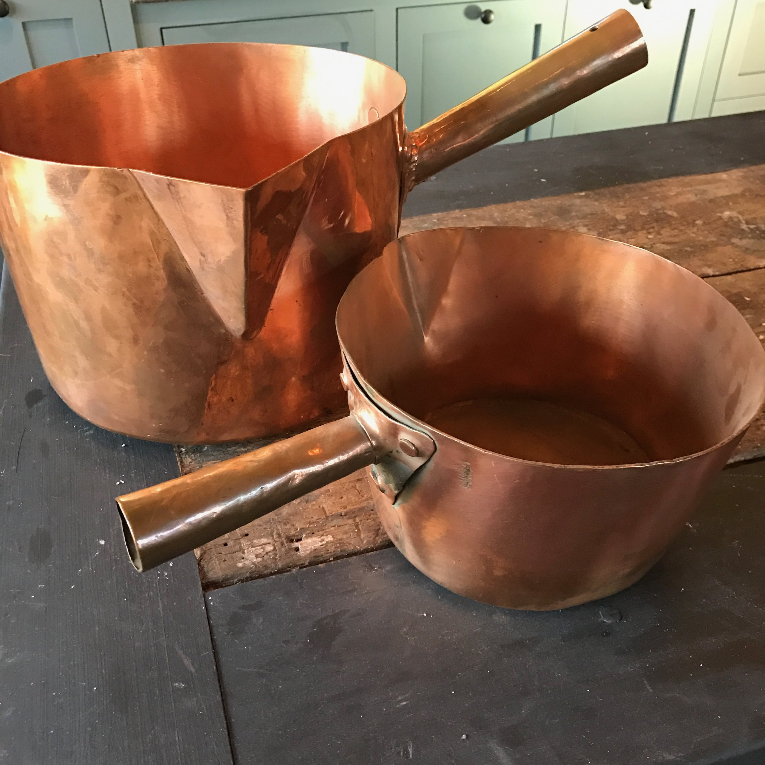 Set of Antique, Heavy Hand-Made Copper Pots, from Belgium, Circa 1900