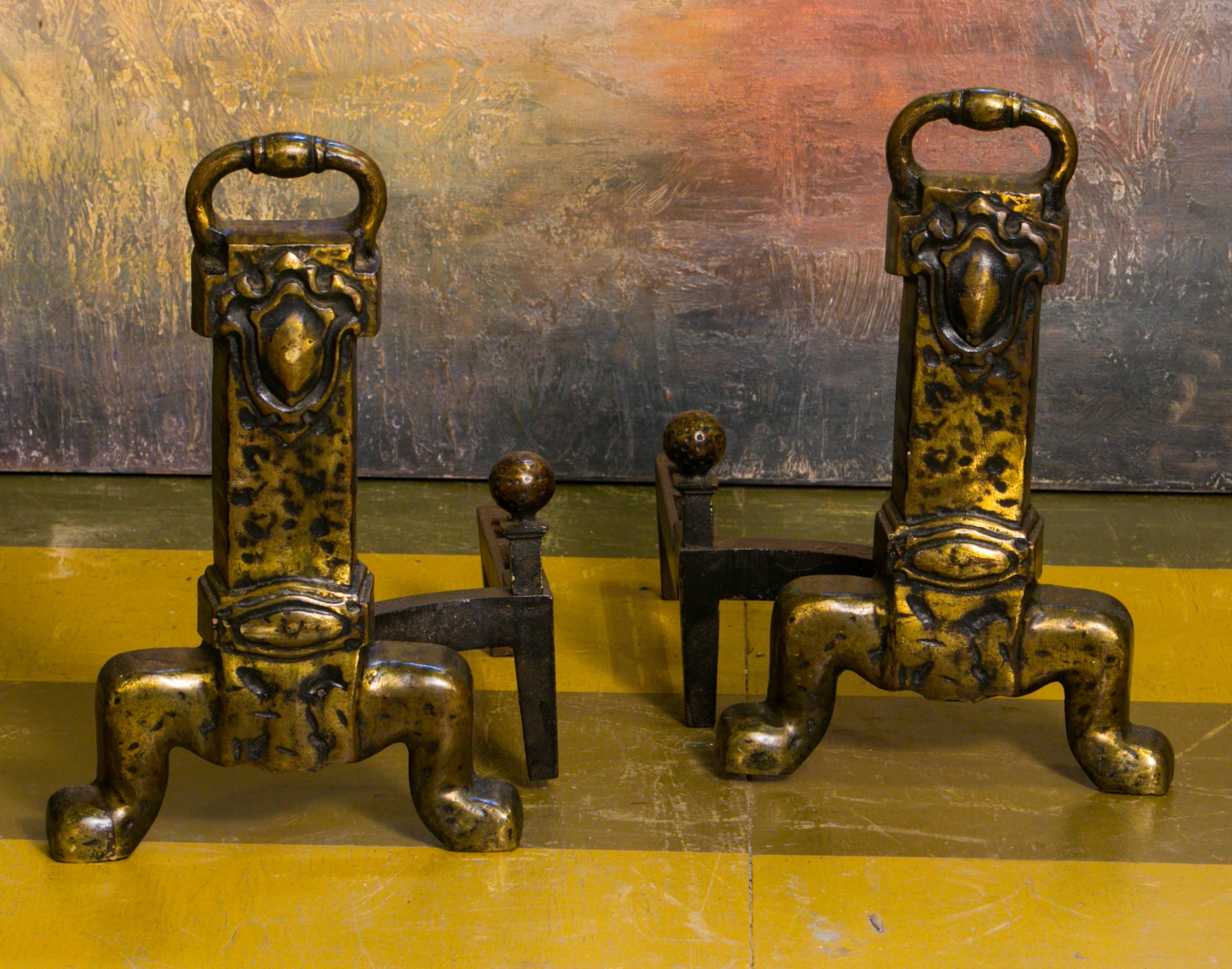 Pair of Unusual Arts & Crafts Style Bronze Andirons from Belgium, circa 1930
