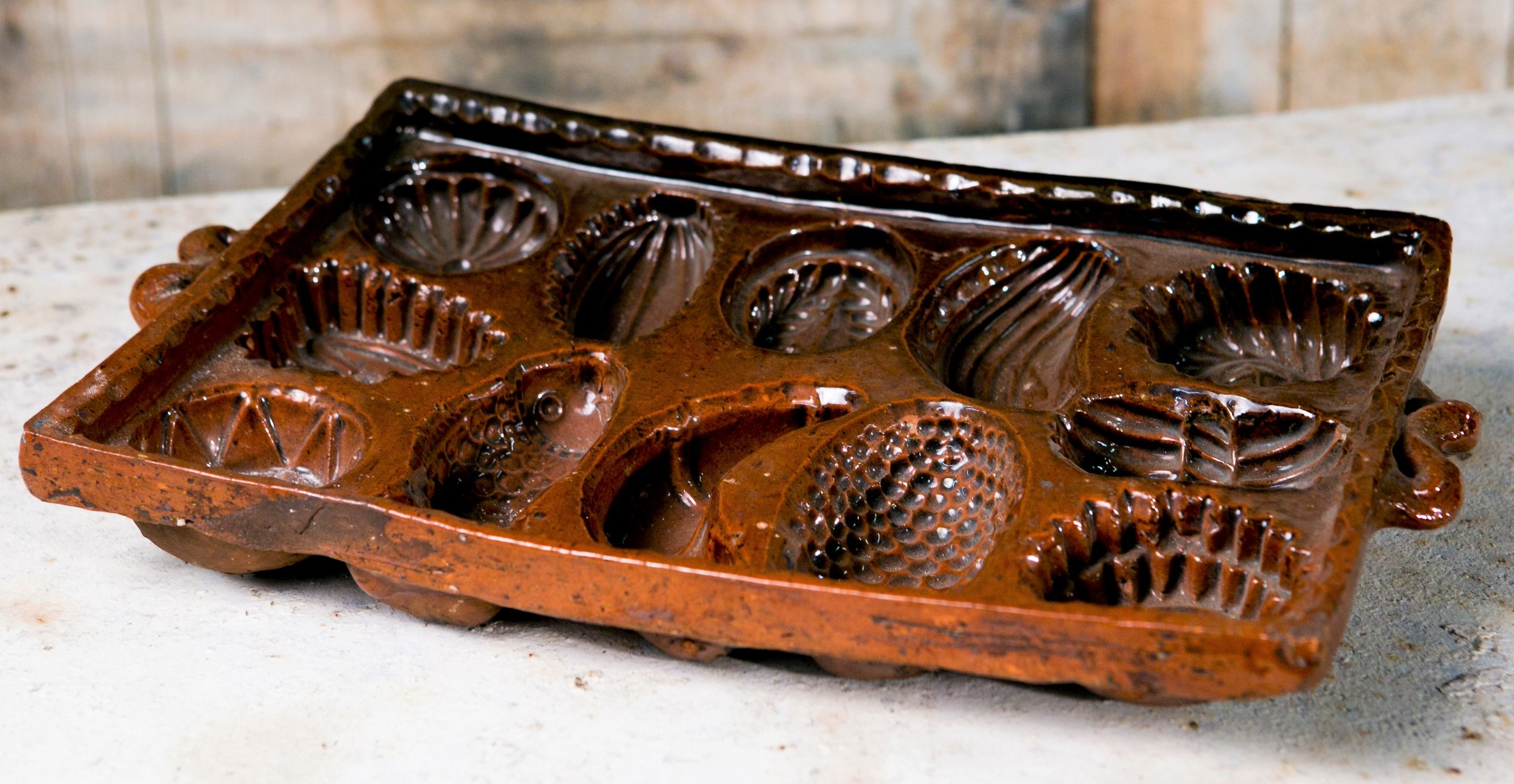 Rare Set of Five 18th Century Pottery Baking Molds