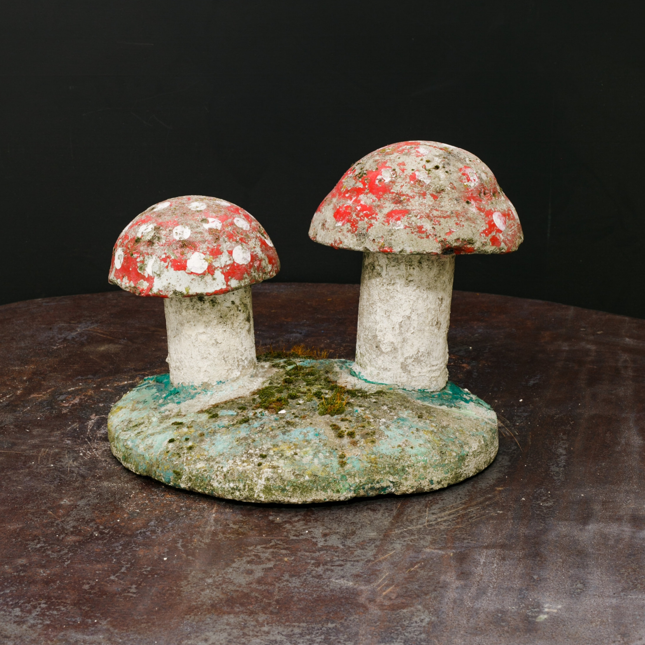 Vintage, Small Hand-Painted Concrete Toadstool Garden Sculpture