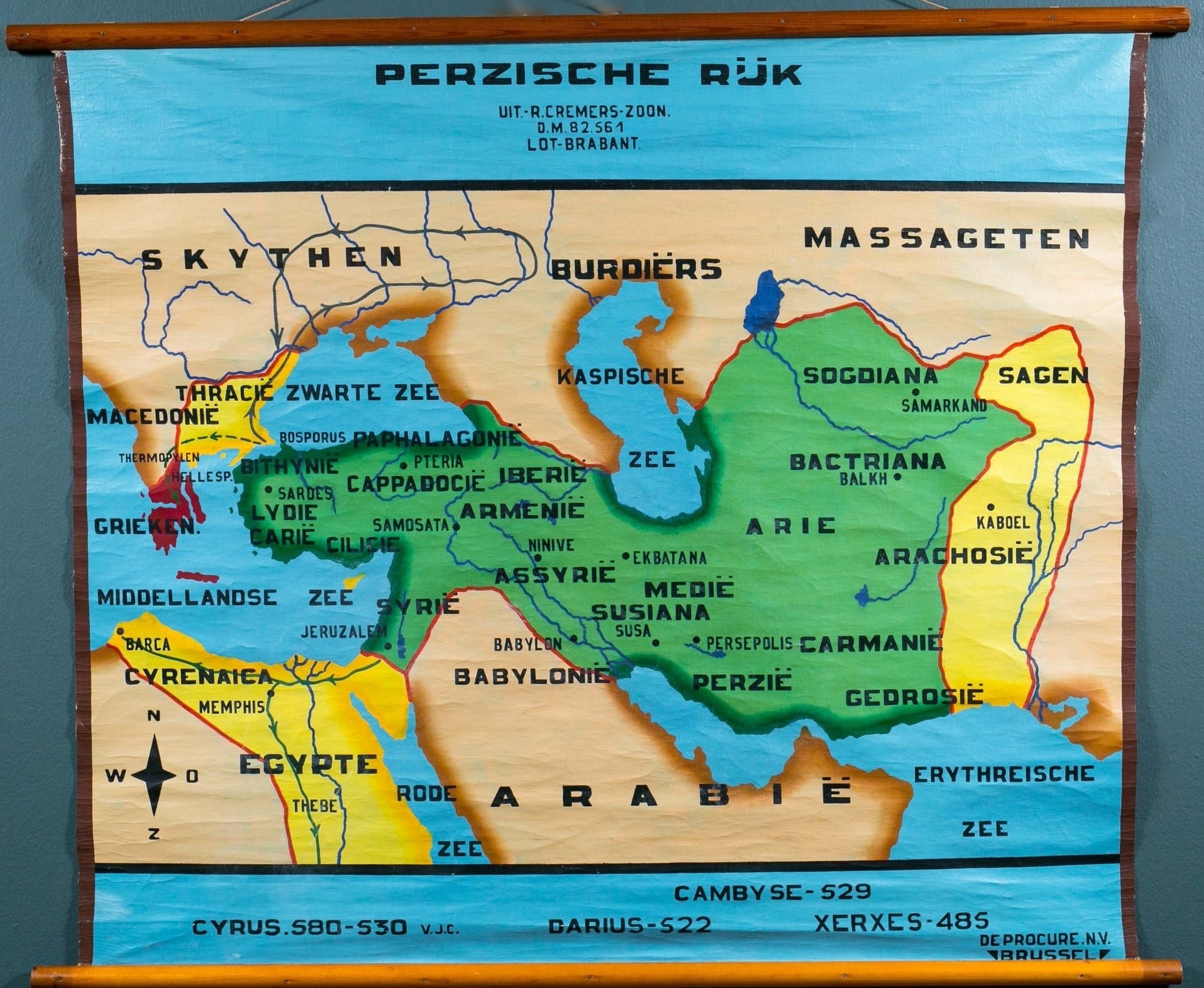 """Perzische Ruk"" Vintage Hand-Painted Map of Persia"