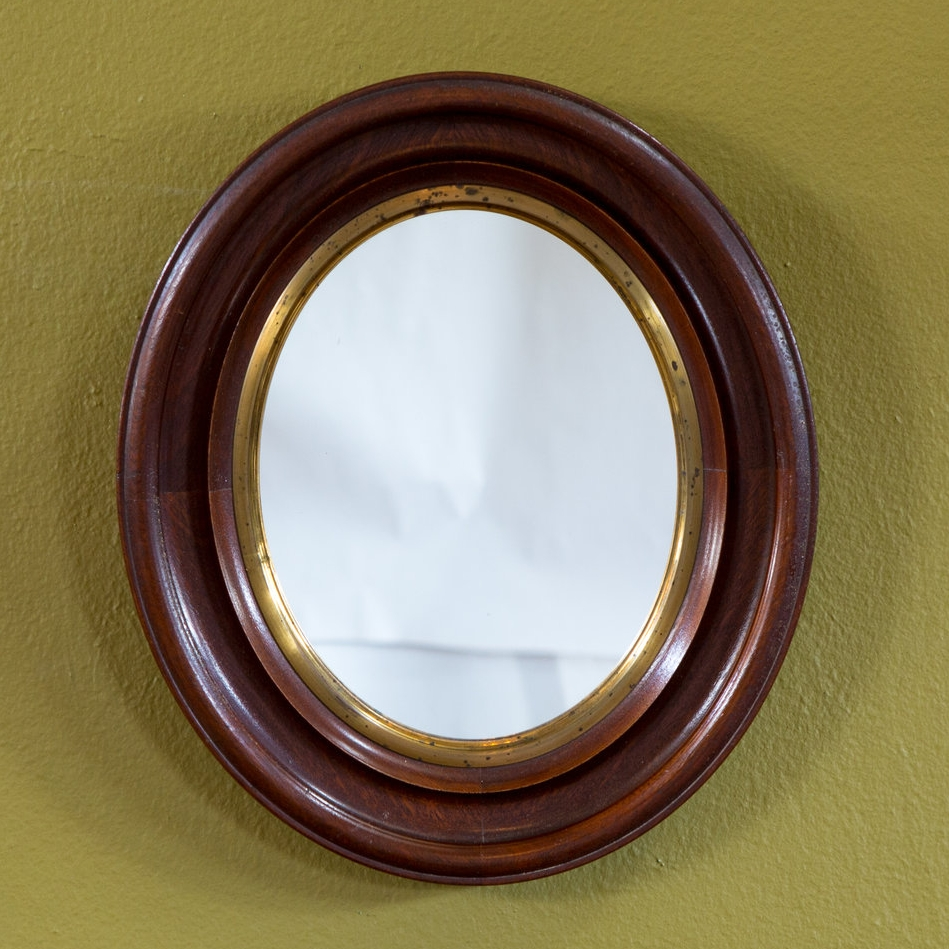 Wood Mirror with Gold Band