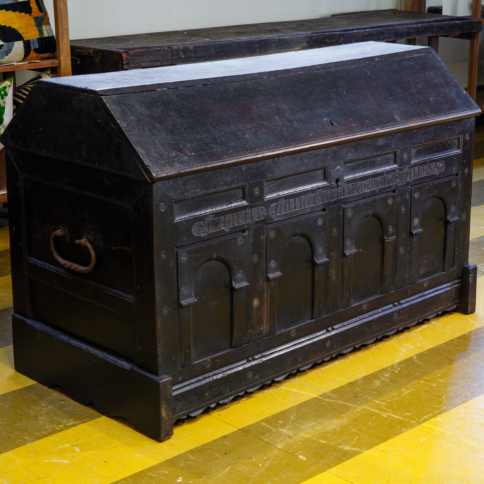 Antique Hand Carved English Trunk in the Mannerist Style