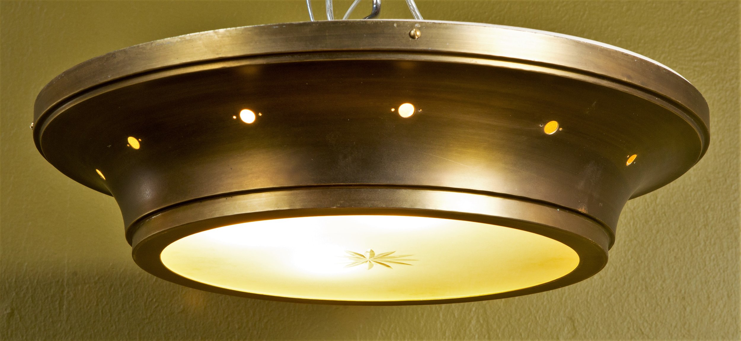 Vintage, Mid-Century Flush Mount with Frosted Glass