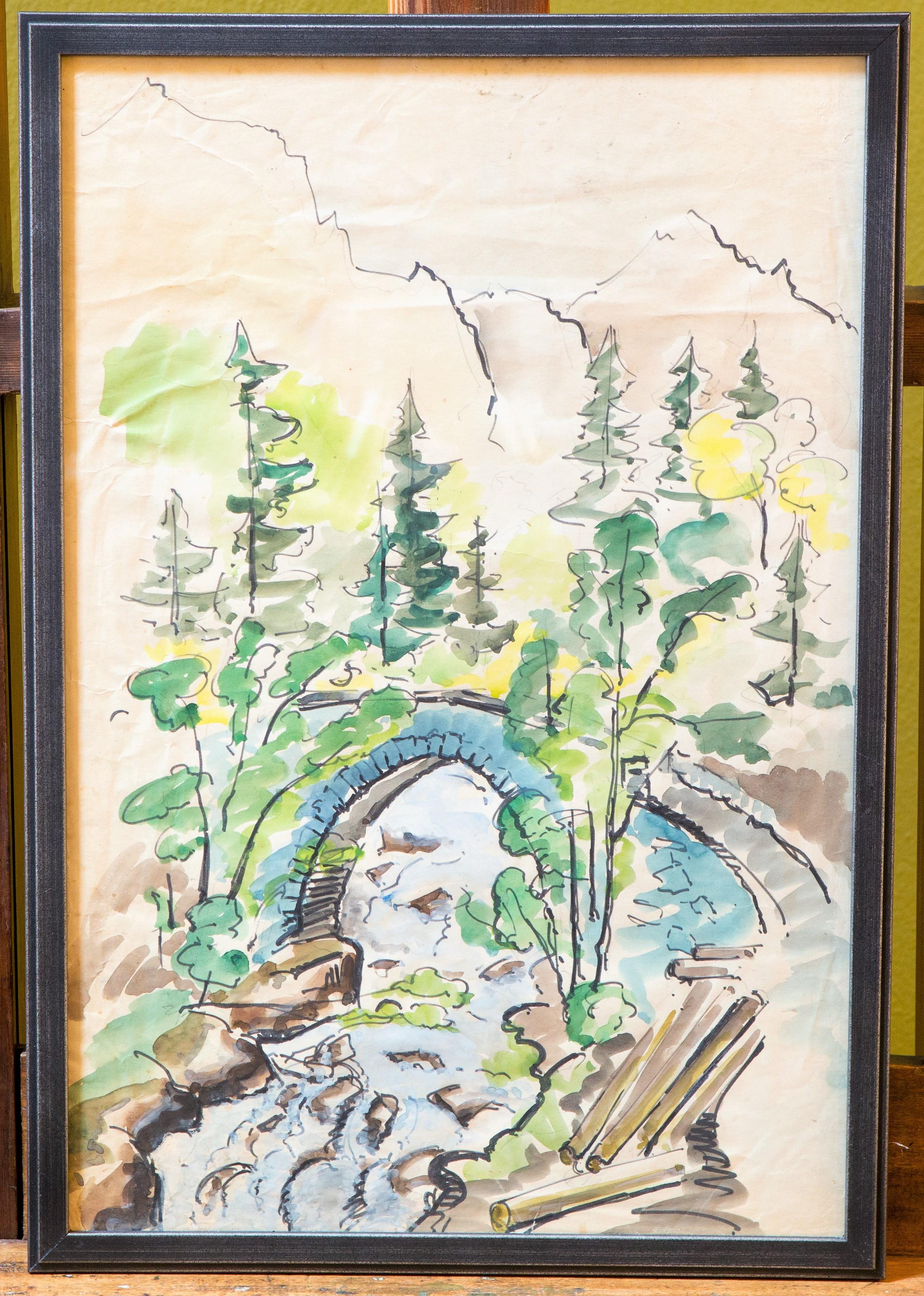 Watercolor with Bridge