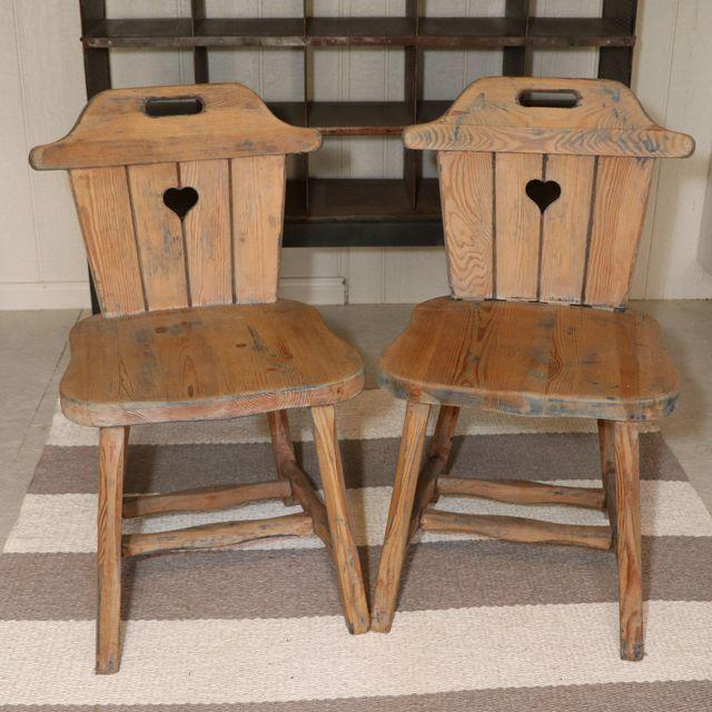 "Set of Four Rustic, Charming, Hand-Carved ""Alpine"" Chairs"
