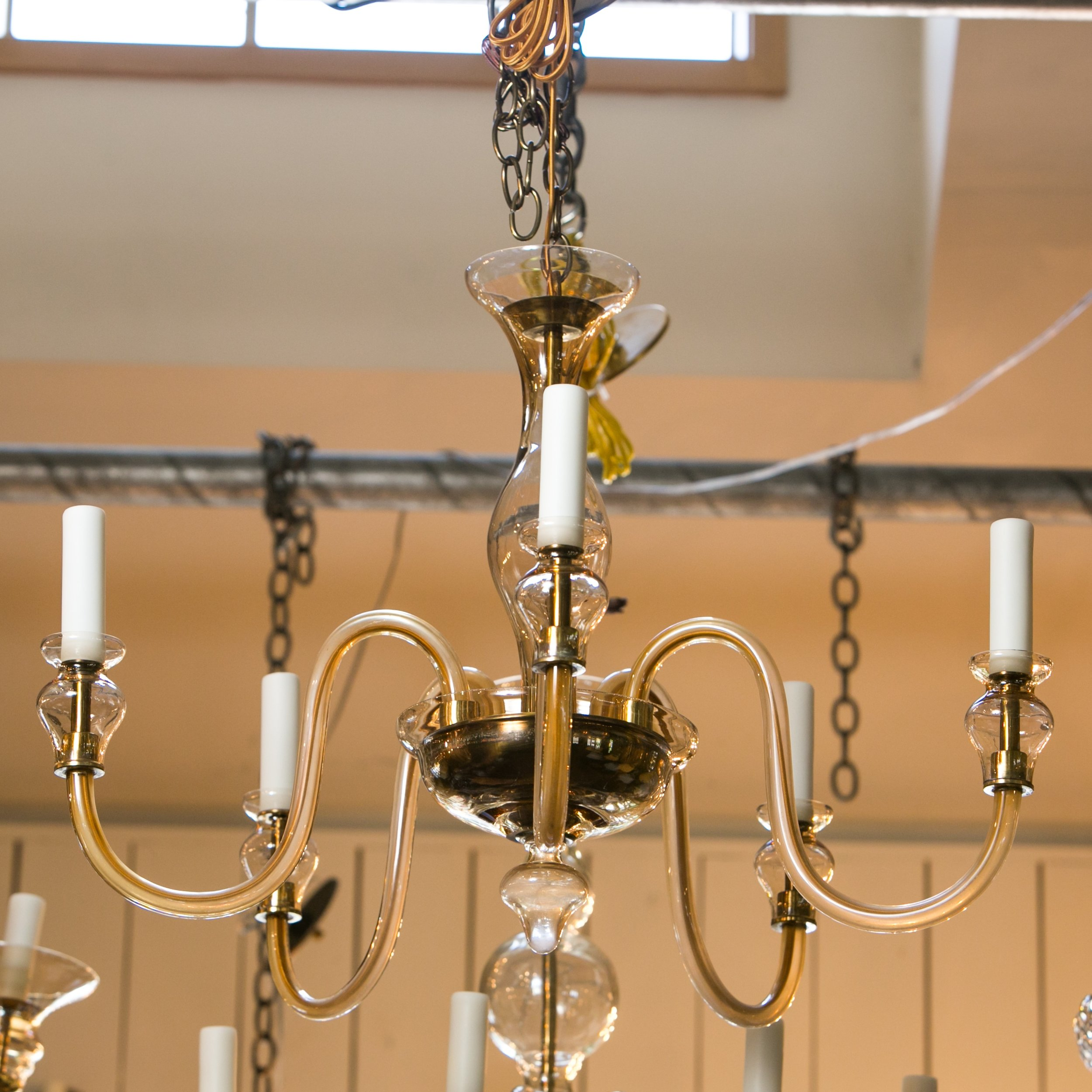 Vintage Italian Five Arm Murano Chandelier