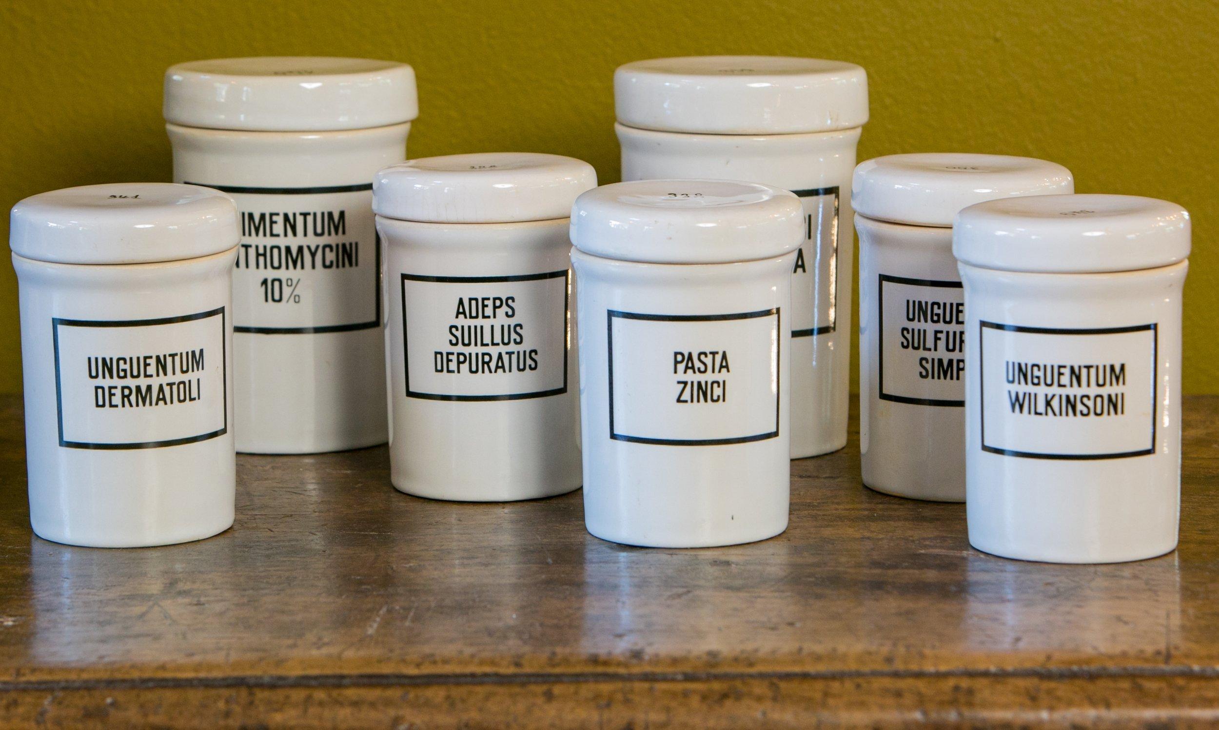 Set of Seven Ironstone Pharmacy Jars