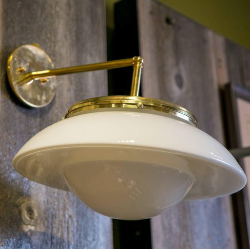 Mid-century Vintage Milk Glass on Brass Sconces