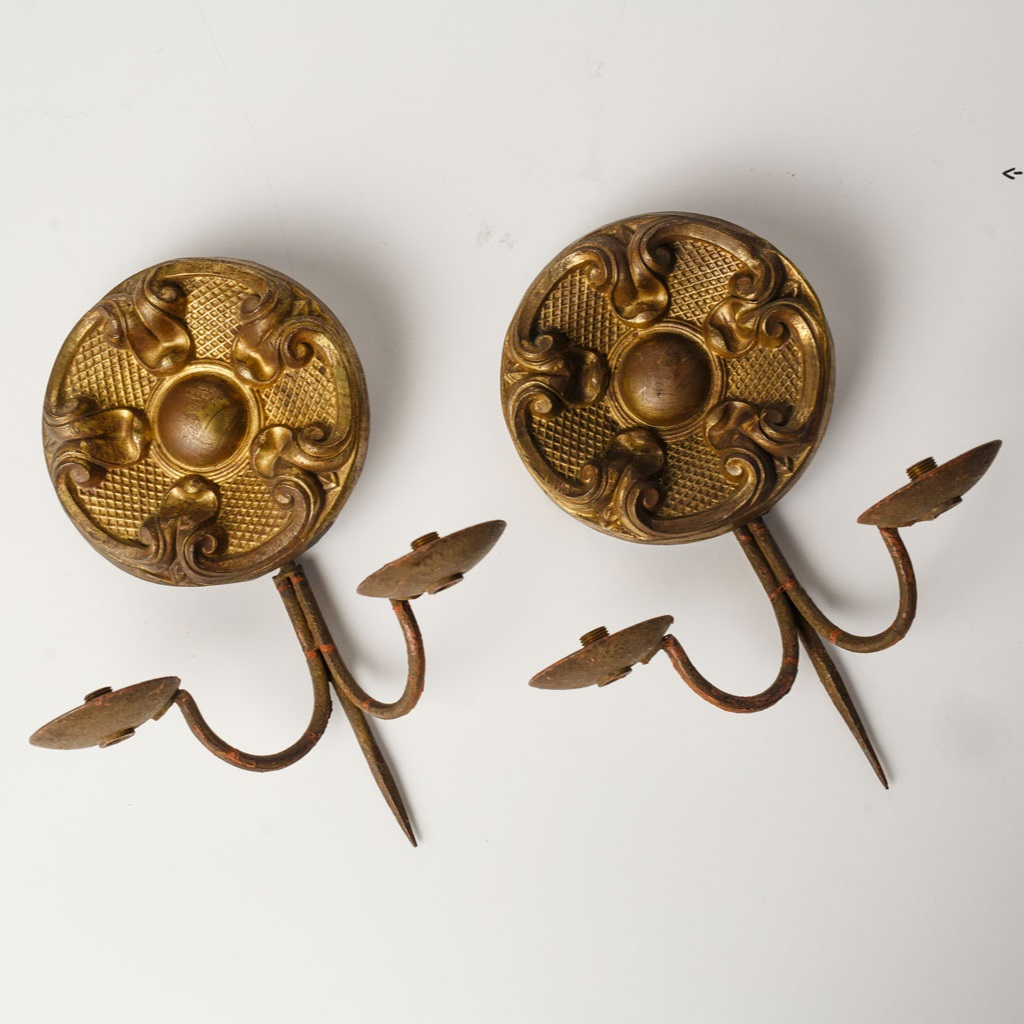 Pair of Repousse Sconces