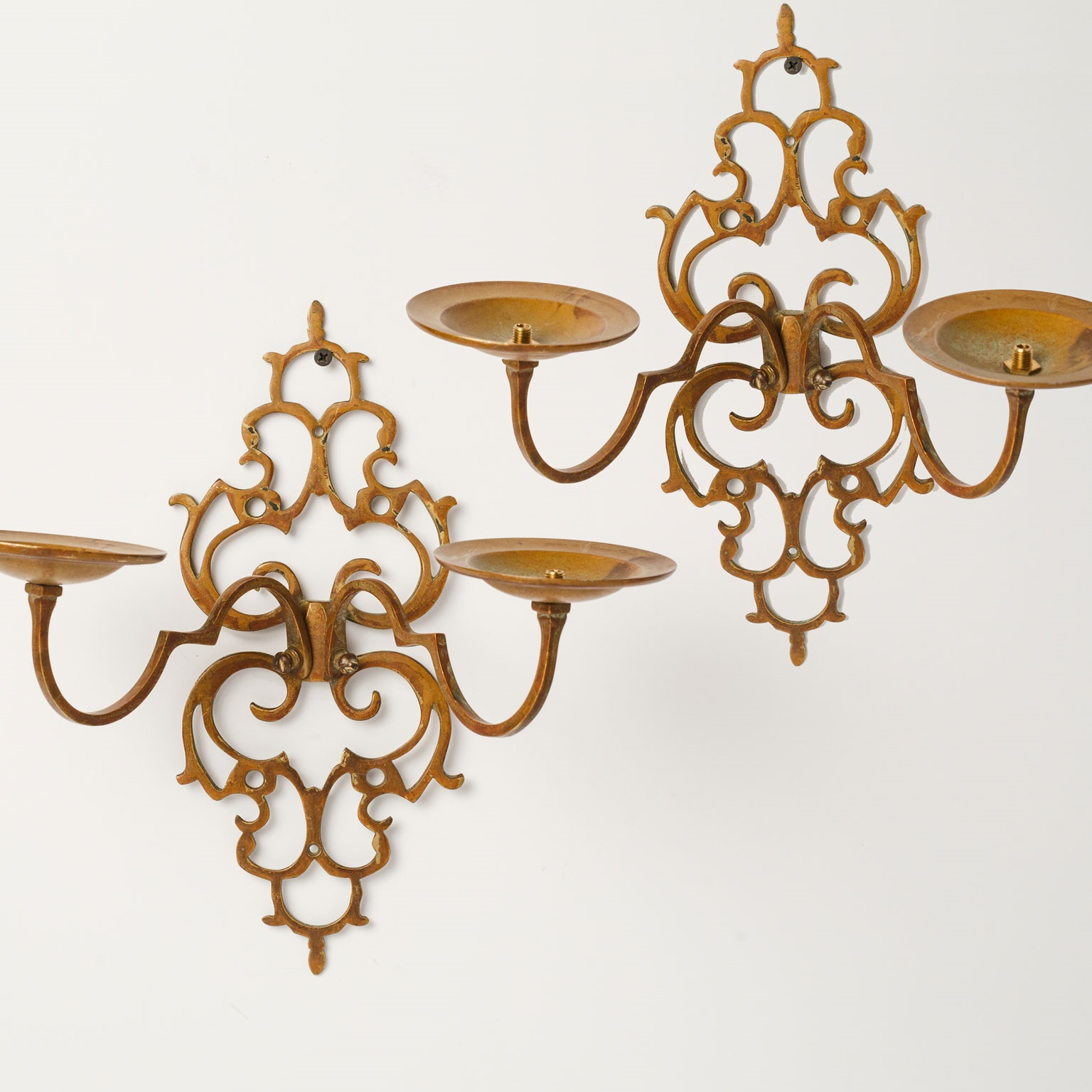 "Pierced Brass ""Lacy"" Two-Arm Sconces"
